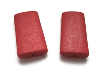 10 Red Wooden Beads, Large Red Wooden Beads, Large Geometric Beads, Wooden Rectangle Beads 10pcs W 70 047