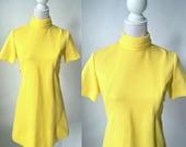 Vintage Yellow Dress, 1960s Yellow Dress, 60s Polyester Dress, Retro 60s Dress, 1960 Casual Dress, Short Sleeve Yellow Dress, Mod Yellow