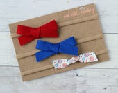Variety Pack Set of 3 Headbands - Red + Royal {WILLOW} - Fireworks {PIPER} - Nylon Headbands - Summer 2017 - Memorial Day + Fourth of July