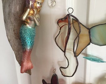 Hand Crafted Mermaid Sea Shells Copper Foil Stained Glass / Crystals Windchime