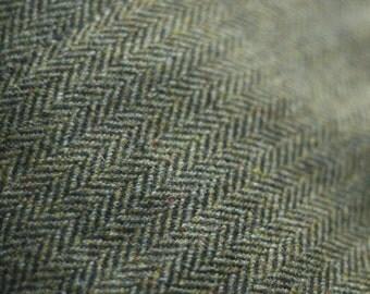 Scottish wool herringbone tweed - moss green black tan brown - very large piece