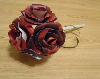 6 Flower Rose Bouquet with Ribbon or personalised Label, Bridesmaid's, Teacher's Gift, Paper Flowers, dark red