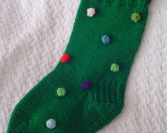 Christmas Stocking - FUNKY - Hand Knit - Christmas Green with Bobbles (Lights) - Collectible