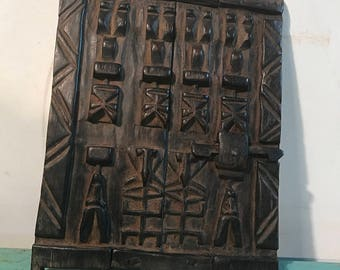 Vintage African Dogon carved wood  door, wall decor, Rustic decor, bohemian , African art,