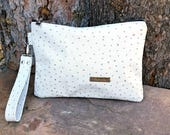 Leather Oversized Wristlet Clutch, White Ostrich Print