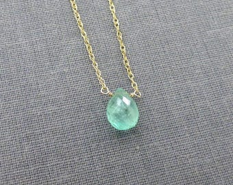 Emerald Necklace, Emerald Briolette, Gemstone Pendant, Tear Drop Briolette, Green Emerald, Colombia Emerald, Natural Emerald, May Birthstone