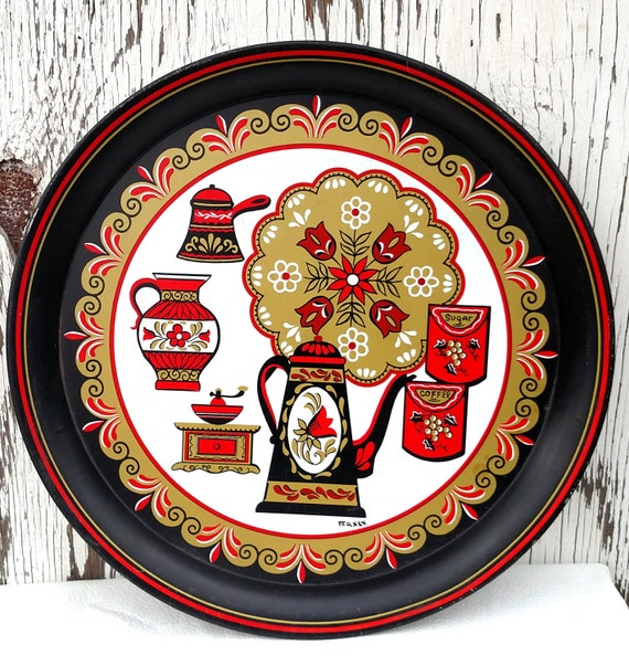 Vintage 1960's Black, Red and Gold Metal Tray with Swedish Folklore Design