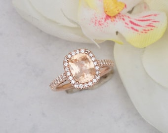 Cushion Peach Sapphire Engagement Ring Rose Gold Diamond Halo 2.07ct Sapphire Weddings Anniversary Ring