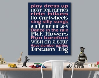 Play Dress Up Dream Big Navy Pink Canvas Wall Art Typography Print