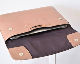 Macbook pro 13 case leather - Macbook Air sleeve leather - 13 inch laptop sleeve - 13 inch Macbook case - Laptop cover leather - Beige case