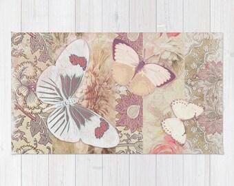Cream Mauve BUTTERFLY Rug, Area Rug, Floor Rugs, Vintage Carpet, Home Decor