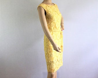 Vintage 50s yellow beaded cocktail dress - 1950s Miss Elliette sleeveless party dress - medium