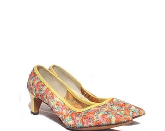 SALE 7 AAAA (Narrow)   Vintage Colorful Embroidered Confetti Pumps by Joyce