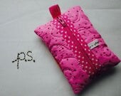 Bold Flower on Bright Pink Quilted Tissue Case/Pouch