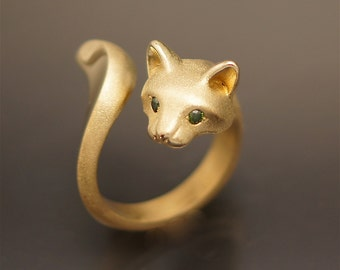 forrest cat with diamond eyes, bronze  (  pick your color)