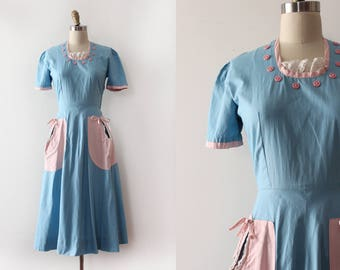 vintage 1940s dress // 40s cotton blue and pink day dress
