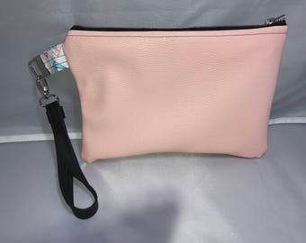 Fo pink leather wristlet