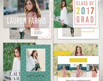Graduation Card Templates - Set of 4 Senior Announcement Cards - Downtown Collection