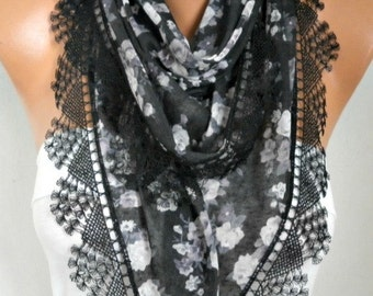 Black Floral comb Cotton Scarf, Necklace, Cowl with  Lace Edge,Valentine's day gift,gift ideas for her,women scarves