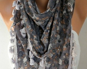 ON SALE --- Floral Printed Tassel Scarf Shawl Spring Cotton Scarf Cowl Scarf Gift Ideas For Her Women Fashion Accessories