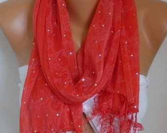 ON SALE --- Sequin Scarf, Shawl, Cowl,Wedding Scarf, Bridal Scarf, Bridesmaid Gift, Gift Ideas For Her Women's Fashion Accessories