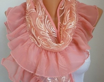 ON SALE --- Salmon Scarf,Wedding Shawl Bridal Accessories Bridesmaid Gift Gift Ideas For Her  Women's Fashion Accessories