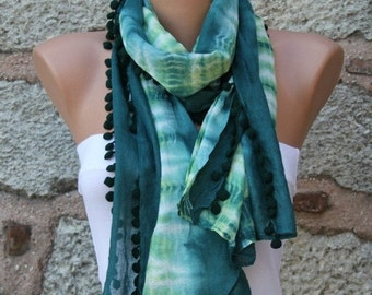 ON SALE --- Emerald Green Ombre Cotton Scarf,Fall Shawl, Batik Design Cowl bridesmaid gift Gift Ideas For Her Women fashion Accessories Pomp