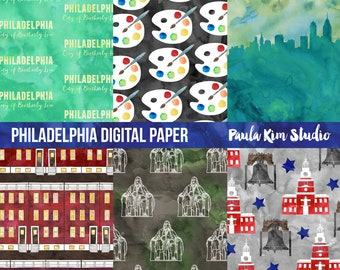 Watercolor Digital Paper, Philadelphia Digital Papers Pack, Commercial Use