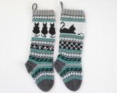 Pattern Cat Christmas Stockings, Knit Cat Pattern, Cat Santa Sock, FairIsle Cat, Knitting pattern Cat, Knit pattern cat, PDF pattern