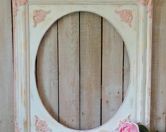 FREE SHIPPING, Large Painted Vintage Picture Frame, Pink, Gold, Cream Open Frame, Princess Nursery Frame, Shabby Cottage, French Provincial