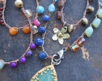 Colorful long crochet wrap necklace  - Bohemian Voyager / Baja - multi colored versatile stone glass crystal boho by slashKnots