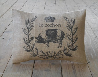 Le cochon Pig Pillow, Shabby Chic, Pigs, Farmhouse Pillows, INSERT INCLUDED