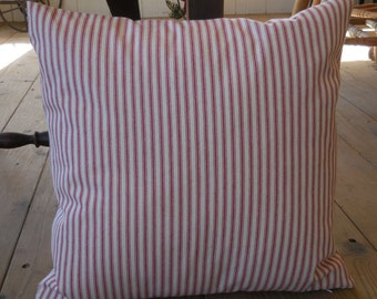 French Red Ticking Pillow, Farmhouse Pillows, Shabby Chic, INSERT INCLUDED