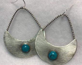 Handcrafted Sterling Silver Earring with Natural Turquoise Cabochons