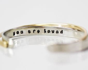 Inspirational Bracelet / Mom / Gift for Mom / Bridesmaid Gift / You Are Loved / Gift for Wife / Graduation Gift / Inspirational Gift / Cuffs