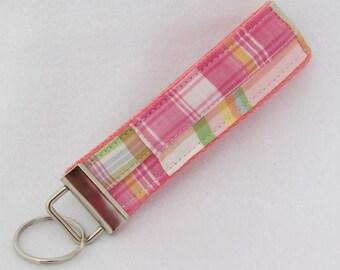 Keyfob wristlet / key chain  /madras/ upcycled / key fob