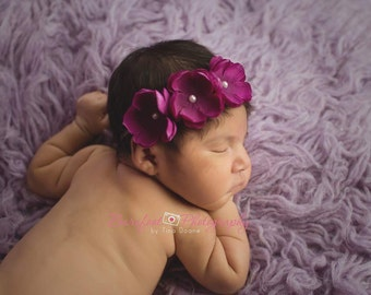 Purple headband..flower headband..purple flower headband..triple flower headband..baby headband..purple baby headband