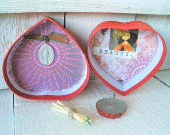 Prayer box heart shaped Christian pocket shrine Mary meditation upcycled embellished- free shipping US