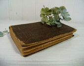 Antique Brown Linen Hard Cover Small New Testament Book American Bible Society 1875 - Shabby Worn Repurposing Condition Book for Photo Prop