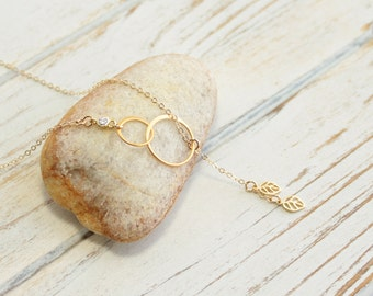 Gold Double Eternity Ring Necklace with Two Dangling Leaves