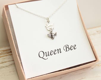 Sterling Silver Crowned Honeybee with Queen Bee Sentiment Card