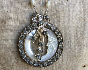 Antique assemblage necklace carved mother of pearl moon 1900s paste mother of pearl rosary