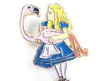 Alice in Wonderland Carrying Pink Flamingo Enamel Pin Gold Lapel Blue Dress Stocking Filler Gift for her Fans Pins Game Collectors Jewelry