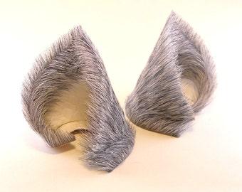 Gray Grey Fur Leather Wolf Dog Fox Ears Inumimi Kitsune Fairy Cosplay Furry Goth Fantasy LARP Costume Pet Play
