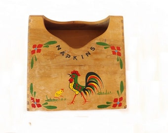 Antique Wooden Napkin Holder with Rooster, Maison International, Made in Japan, Kitchen Decor, Rooster Decor, Wall Decor
