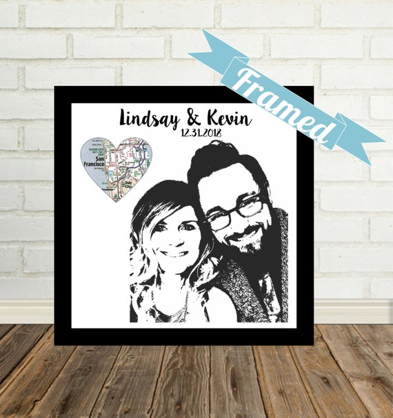 Personalised Wedding Gift Portrait : Personalized Wedding Gifts Couple Illustration Custom Portrait ...