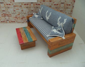 Doll house miniature sofa & table rustic/modern