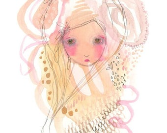 Original girl illustration Lost painting