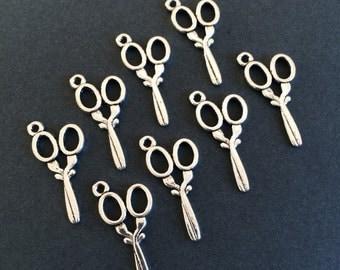 26 Antique Silver Bulk Scissor Charms Small Scissor Pendants 30mm x 14mm Double Sided Charms