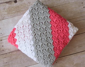 READY TO SHIP - Crochet Baby Blanket, Striped Baby Blanket, Girl Baby Blanket, Large Baby Blanket, Grey Baby Blanket, Coral Baby Blanket